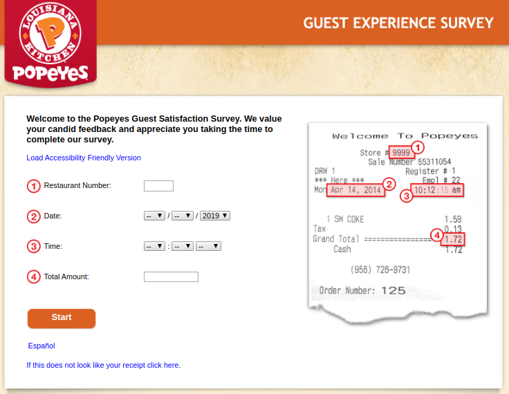 Popeyes USA Guest Experience Survey