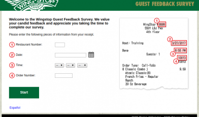 Wingstop Guest Feedback Survey