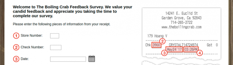 The Boiling Crab Feedback Survey