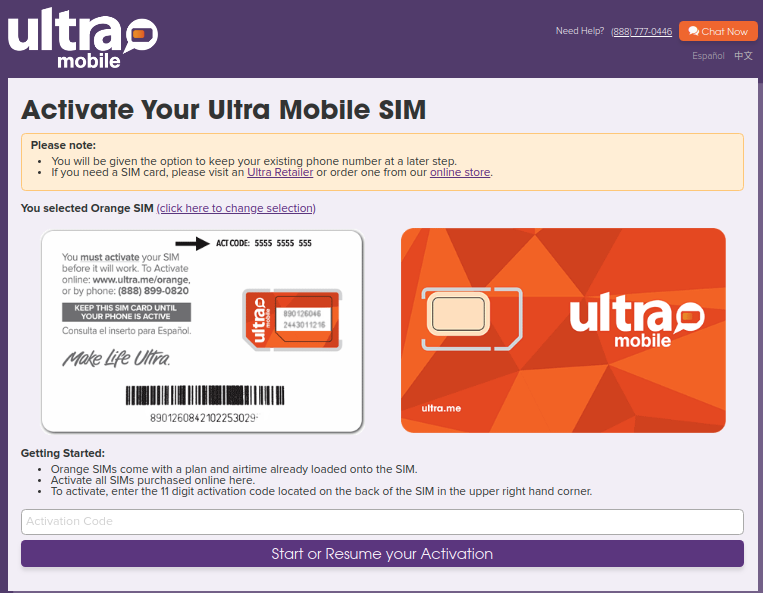 Ultra Mobile Activation