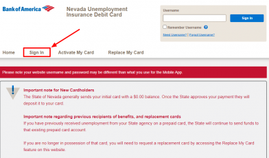 Access the Bank of America NEVADA Debit Card