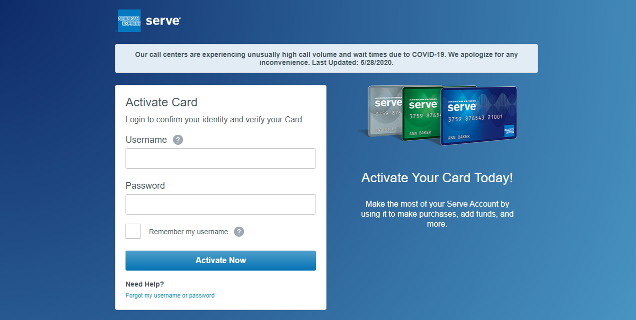 How to Activate the Serve Card