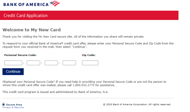 How to Apply for Bank of America My New Card Offer