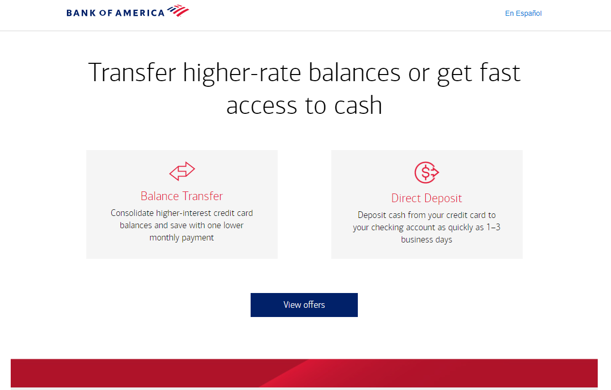 How to Transfer Balance from Bank of America