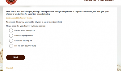 Chipotle Voice Guest Survey